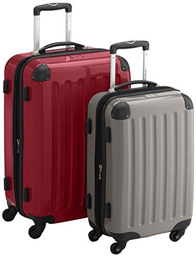 HAUPTSTADTKOFFER - Alex - 2er Koffer-Set Hartschale glänzend, TSA, 65 cm + 55 cm, 74 Liter + 42 Liter, Orange-Aubergine Rot-Graphit