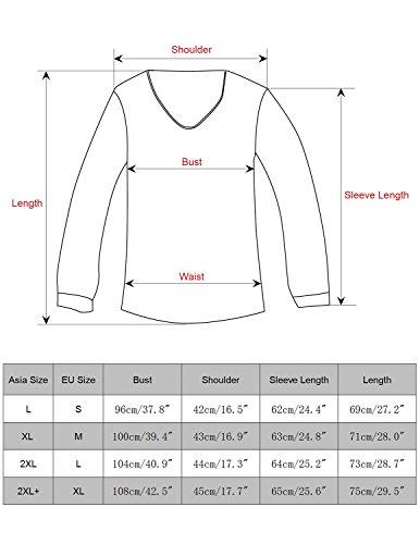 YCHENG Herren 3D-Druck Muster Weihnachten Design Rot Langarm T-Shirt Schwarz