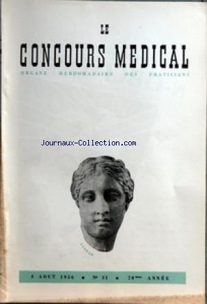 CONCOURS MEDICAL (LE) [No 31] du 04/08/1956 - SOMMAIRE - PARTIE SCIENTIFIQUE - AU SUJET DU VACCIN ET DE LA VACCINATION CONTRE LA POLIOMYELITE PAR G RAMON - LES MORSURES DE SERPENTS PAR H ET J SAPIN-JALOUSTRE - COLLOQUE SUR LE DIABETE - II INDICATIONS ET RESULTATS DU BZ 55 PAR C ROUZAUD