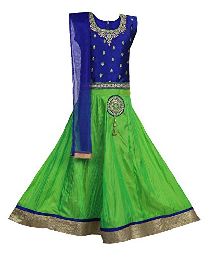 Ashwini Mädchen Kleid Rock Top (Blue, 9-10 Jahre) (Anzug Rock Blue)