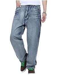Saoye Fashion Pantalones Anchos Pantalones Vaqueros De Hip Hop Jeans Estilo  Inconformista Ropa Hombres Rap Denim 7083dd39ee1