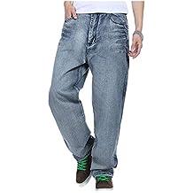 Saoye Fashion Pantalones Anchos Pantalones Vaqueros De Hip Hop Jeans Estilo  Inconformista Ropa Hombres Rap Denim e107ce2cfa7