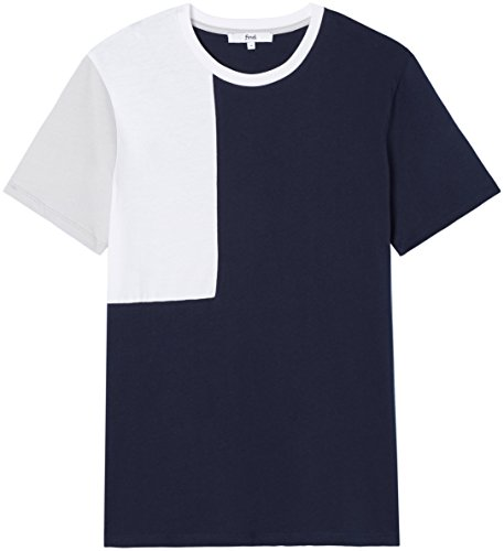 FIND T-Shirt Herren Colour-Blocking und Lockere Passform Mehrfarbig (Navy)