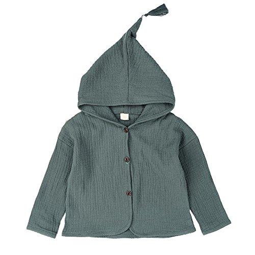 PU Ran pour enfant bébé fille Mode solide Couleur Tassel à capuche Bouton Manteau Veste pour chien vert Green 80 cm