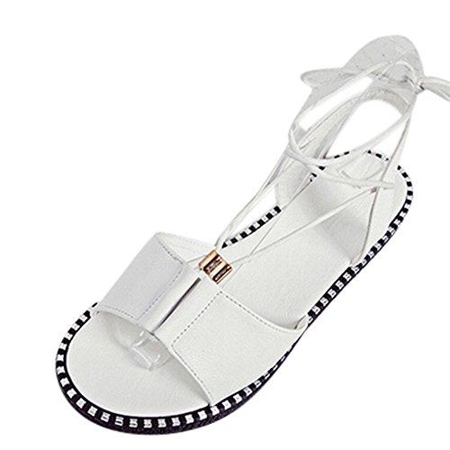 Longra Donna I nuovi pattini aperti del piede della punta dei sandali aperti della punta dei pattini allentano i pattini piani Bianca