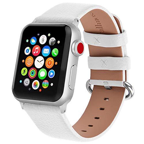 Fullmosa Klassische Litichi Leder Watch Armband Kompatibel für Apple Watch Series 5/4/3/2/1, 12 Farben iWatch Armband geeignet für Männer und Frauen mit Edelstahlschliesse 38mm, Weiss