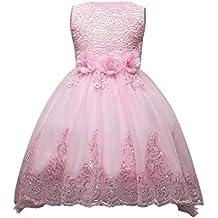 Fuyingda Kids Diamante Vestido de dama de honor Niñas Princesa Wedding Puff falda Party Flower Bow