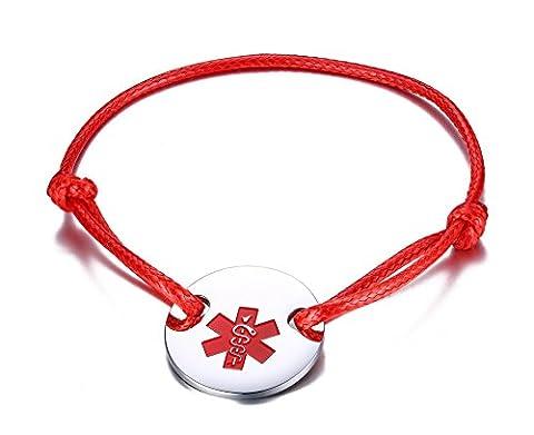 Vnox l'acier inoxydable corde rouge medical alert id round tag réglable bracelet bracelet,free gravure