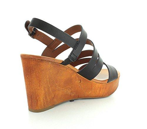Lucky Brand Marinaa Femmes Cuir Sandales Compensés Noir