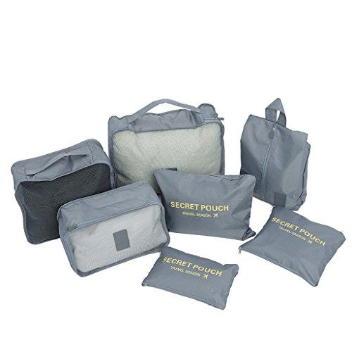 Impermeable Organizador de Maleta Bolsa para Ropa Zapato Sucio de Viaje Lictin 7 en 1 Set de Organizador de Equipaje Viaje con Bolsa de Zapato Azul Oscuro Material Nylon