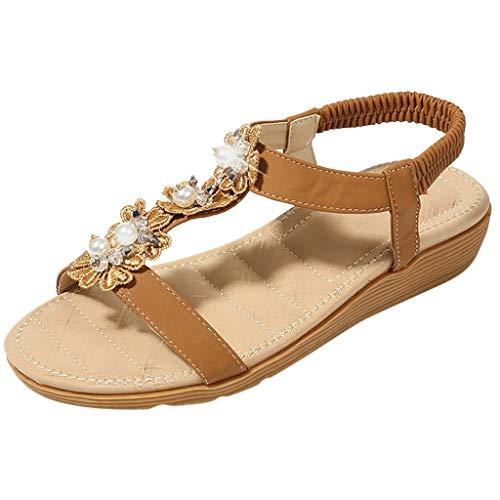 ☀NnuoeN☀ Sandali Donna Piatte Estate Strass Fiore Bohemia Flip Flop Spiaggia Estivi Scarpe Casual Open Toe Tacco Piatto Shoes