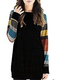 Koly Mujer Camisas Manga Larga Elegante Moda Rayas Empalme Round Collar Suelto Camisetas y tops Blusas y camisas Casual Blouse ropa deportiva mujer sudaderas para mujer T-shirt Dress