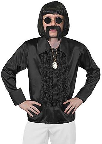 MENS 70S DISCO FANCY DRESS COSTUME - MENS BLACK BOB WIG, BLACK DISCO SHIRT, GOLD MEDALLION, BLACK GLASSES + BLACK MOUSTACHE - FUNKY FANCY DRESS COSTUME - BLACK SHIRT (XX-LARGE)