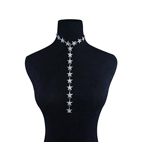 reixus (TM) Star Choker Frauen Punk Metall Choker Statement Halskette Luxus  Strass Maxi Halskette c6c45753eee