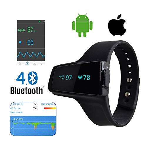 KJHG Smart Handgelenk-Pulsoximeter - Schlaf-Sauerstoffmonitor zur Überwachung der Sauerstoffsättigung über Nacht, intelligenter Vibrationsalarm für Schnarchen und Schlafapnoe, Schlafhilfe,Black