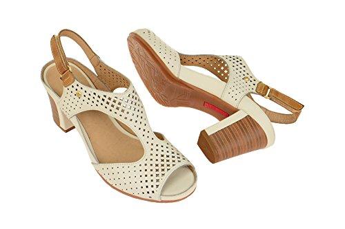 Pikolinos Damen Java W0k_v17 Offene Sandalen mit Keilabsatz Weiß