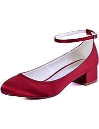 Elegantpark Femmes Bout Fermé Bloc Talon Pompes à Sangle de Cheville  Chaussures de Mariage Soirée 8e959c31353c