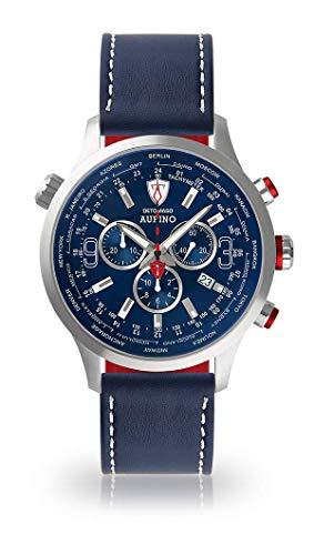 DETOMASO AURINO Herren-Armbanduhr Chronograph Analog Quarz Edelstahl Silber blaues Zifferblatt Leder Silikon - Jetzt mit 5 Jahre Herstellergarantie (Leder - Dunkelblau (Naht: Weiß))