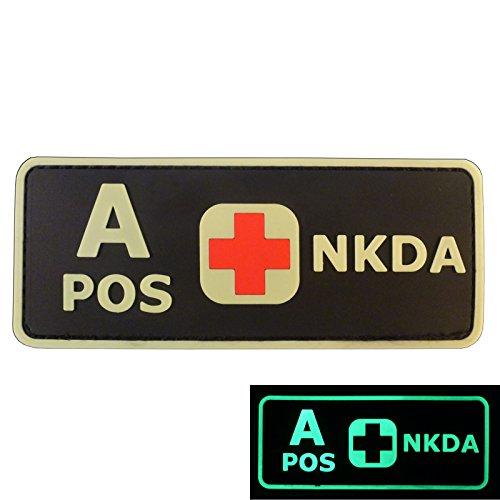 PVC Gummi 3D GITD Velcro Aufnäher Patch Blutgruppen NKDA Glow in the Dark Combat Taktisch Tactical GID