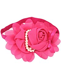 AkinosKIDS Pearl chiffon lace flowers elastic infant newborn baby girl headbands Toddler band hair hairband Dark Pink