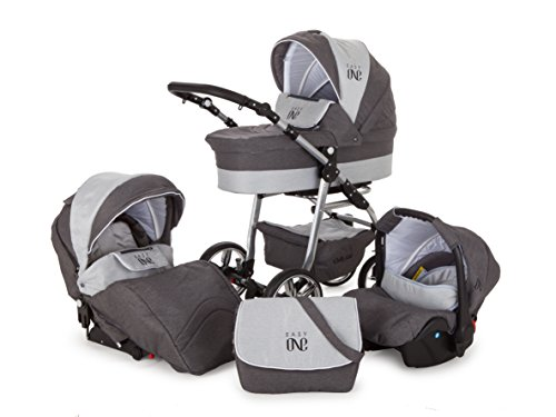 Lux4Kids Kinderwagen Set Babywanne Sportsitz Babyschale Wickeltasche Matratze 3in1 VIP Luxus Made in EU Easy One Grau & Jeans