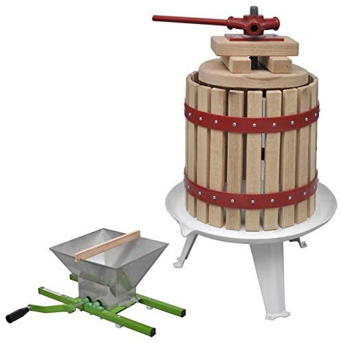 FESTNIGHT Prensa Manual Conjunto de Prensa y Trituradora de Frutas y Vinos Exprimidor Zumo 2 Piezas