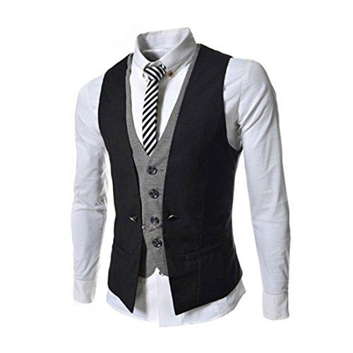Lanmworn Giacca senza maniche da uomo con scollo a V, gilet senza maniche, giacca leggera da giubbotto in due pezzi fashion falso. Nero