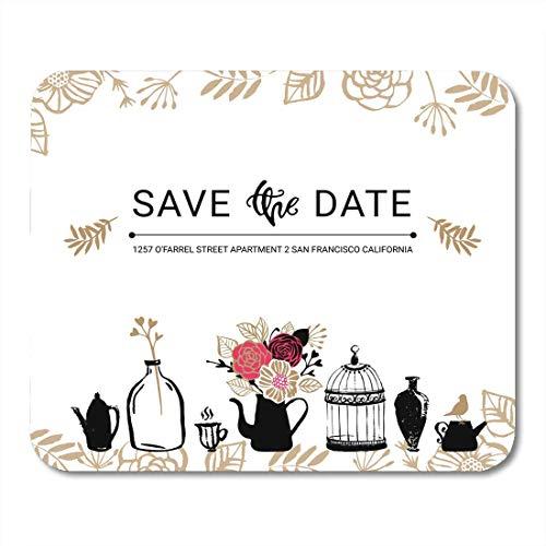 Luancrop Mauspads Grenzjahrestag retten das Datum mit Blumenstrauß Birdcage und Vase Moderne Briefgestaltung-Vogel-Mausunterlage für Notizbücher, Tischrechner-Mausunterlagen, Bürozubehöre -