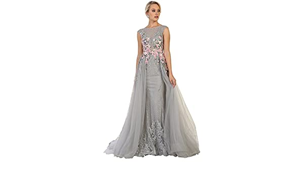Formal Dress Shops Inc Royal Queen RQ7596 Red Carpet Formal Evening Gown - Grey - 8: Amazon.co.uk: Clothing