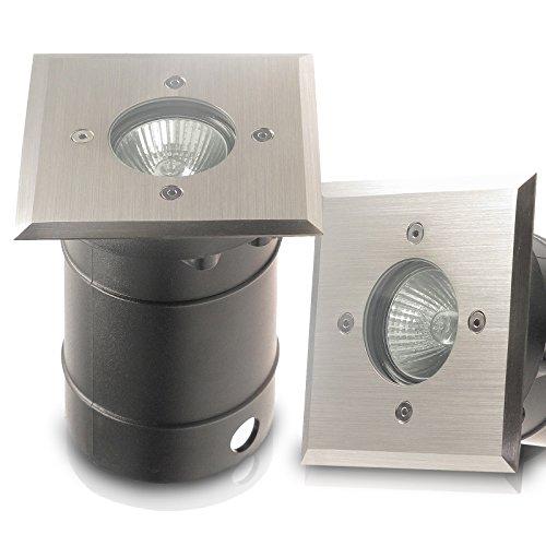 IP67 Bodeneinbaustrahler TIERRA 1 PLUS eckig/quadratisch geeignet für LED und Halogen Leuchtmittel GU10 (jederzeit austauschbar) 230V Einbaustrahler Wegeleuchte Garten außen; ohne Leuchtmittel