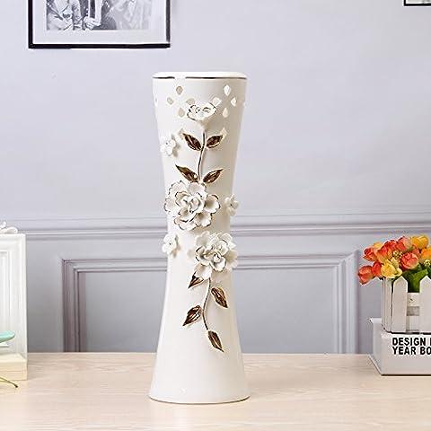 Maivas Décoration Vase en céramique européenne simple Maison Arrangement de fleurs, DE ROSE Big Blanc