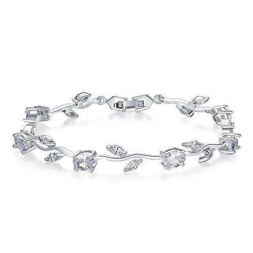 Yellow Chimes Exclusive Latest Rose Chain Swiss Zircons Designer Bracelet for Women...