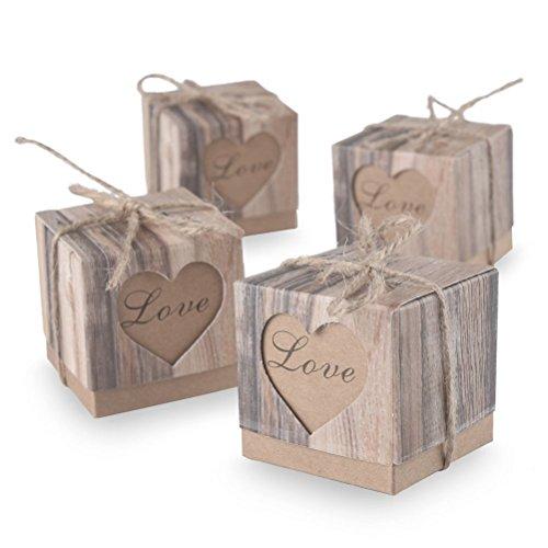 Pixnor-scatola per dolci da matrimonio, in legno rustico stile shabby chic vintage, motivo