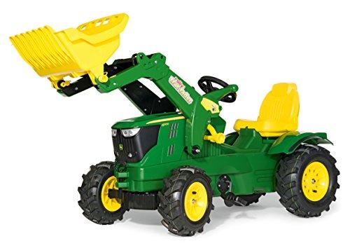 Rolly Toys 611102 Traktor Farmtrac John Deere 6210 R inklusive Frontlader Trac Lader, mit Kettenantrieb, Luftbereifung, verstellbarem Sitz (für Kinder von 3 – 8 Jahren, Farbe grün)