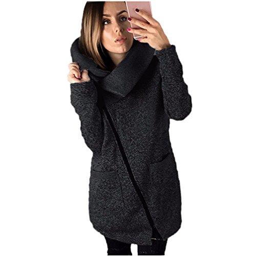 Vovotrade ❀❀Womens beiläufiger mit Kapuze Jacken-Mantel-langer Reißverschluss-Sweatshirt-Outwear-Oberseiten (EU Size:42(XXL), Schwarz)