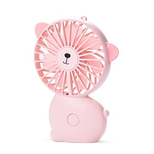 CHwares Mini Desktop USB Ventilator Personal Fan mit 800 mAh aufladbarer Batterie Akku LED-Licht Beweglicher Einstellbare Geschwindigkeiten für Indoor und Outdoor Aktivitäten Rosa süß schön Geschenk (Outdoor-telefonkabel)