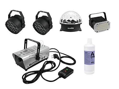 showking Party-Effekt-Set 2 x RGB-LED-Spots/Spiegelkugel-Effekt/Stroboskop-Scheinwerfer/Nebelmaschine mit Fluid - vielseitige Partykeller/Heim-Disco Geräte - Akzent-scheinwerfer-set