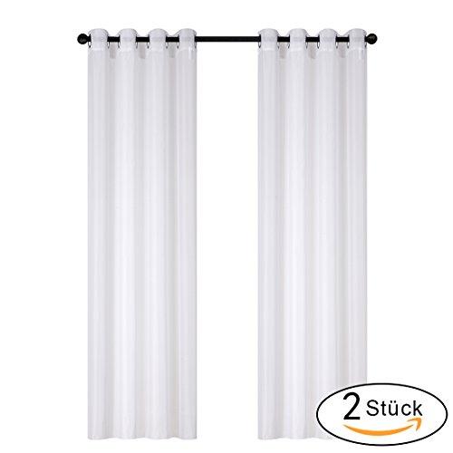 OBdeco Gardine Vorhang Transparent Voile Gardinenschals vorhänge mit Ösen 2 Stück (140 x 245cm, Weiß)