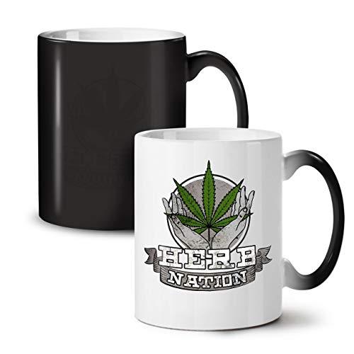 Wellcoda Nation Cannabis 420 Schwarz Farbwechsel Tee Kaffee Keramisch Becher 11 oz