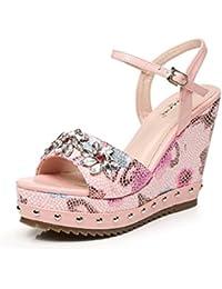 HY HY Frauen Sommer Steigung Sandalen Printed Strass Fashion High Heels Damen Peep-Toe Sandalen (Farbe : Pink...