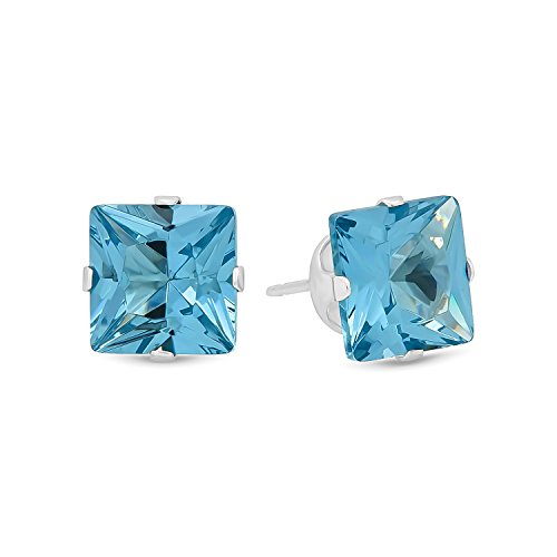 Princess Cut Simulated Aquamarine CZ Sterling Silver Stud Earrings