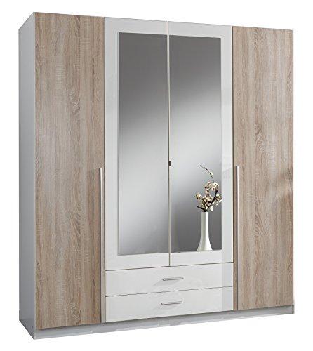 Wimex 119453 Kleiderschrank, 4-türig mit zwei Schubkästen und zwei Spiegeltüren, F...