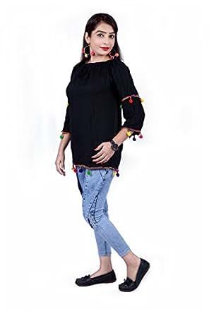 Ecolors Fab Tops For Women Western Wear (Black, Small)