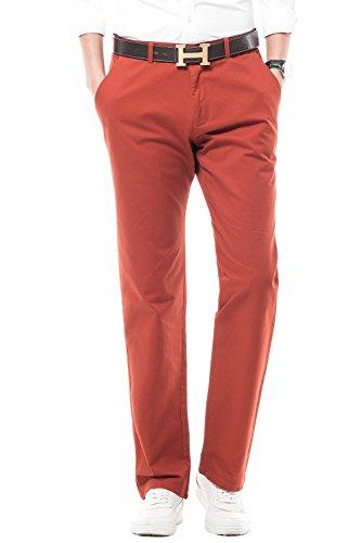 INFLATION Herren Chino Hose Regular Fit Casual Stoffhose Chinohose für Männer und Jungen Hose für Freizeit Arbeit Urlaub Elastisch MH104 Orange-rot 30 - Dickies-elastische Taille Hose