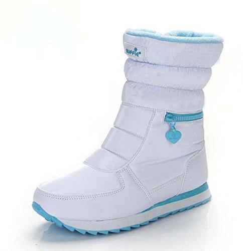 Stivali da neve donna Punta rotonda Stivali caldi in cotone caldo Comforty impermeabile antiscivolo Zipper Sport Shoes Outdoor Casual Boots Eu Size 35-41 Bianca