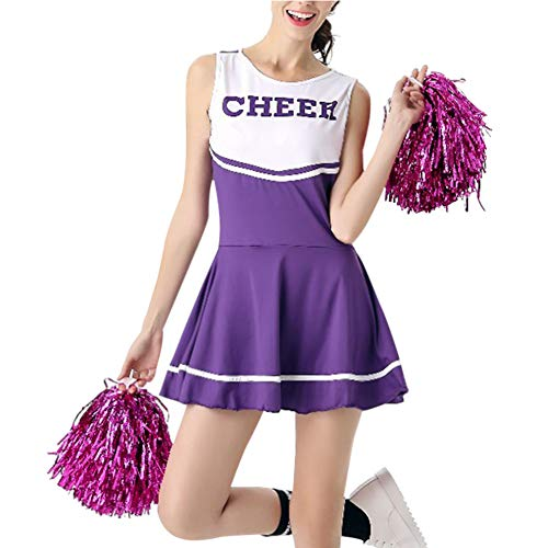 Gtagain Cheerleader Uniform Damen - Mädchen High School Musical Sport Fancy Dress Tanzkleidung Tanzen Kostüm Performance Party Halloween Bühne mit Pom Poms (High School Musical-halloween-kostüme Für Erwachsene)