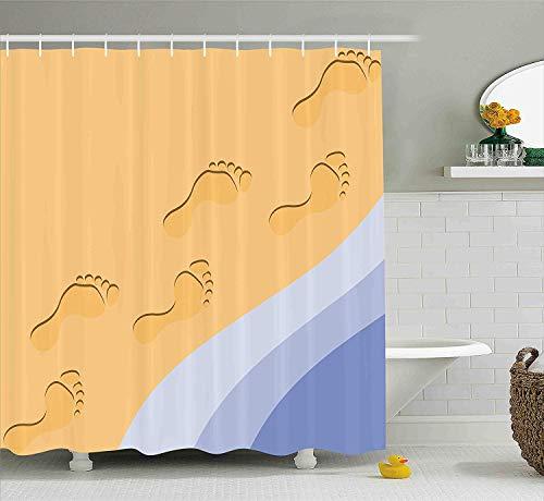 Curtain, Footprints Sand Realistic Print Near Ocean Waves Digital Image, Fabric Bathroom Decor Set with Hooks, 72x72 inches, Baby Blue Purple Green Apricot ()