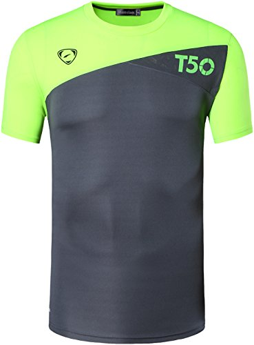 Jeansian Hombre Camisetas deportivas Wicking Quick Dry Tee T-shirt Sport Tops LSL131 Gray L