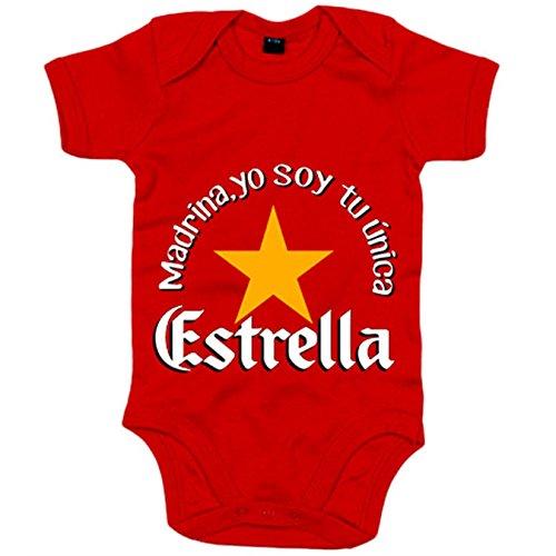 Body bebé madrina yo soy tu única Estrella - Rojo, 6-12 meses