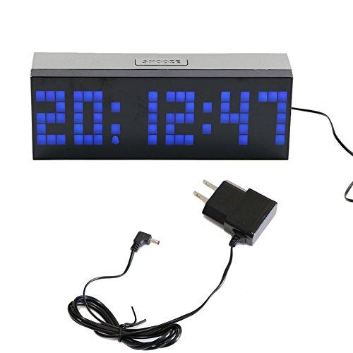 T Tocas Grandi numeri digitali LED Snooze parete scrivania Orologio sveglia con la temperatura, il conto alla rovescia, desktop, Comodino orologio (Blu)